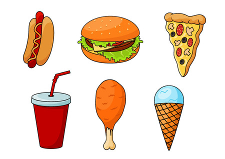 Illustration for Traditional fast food pizza, topped with sausages, cheese, mushrooms and olives, cheeseburger with fresh vegetables, hot dog, flavored with mustard, fried chicken leg, paper cup of soda and mint ice cream cone. Cartoon style - Royalty Free Image