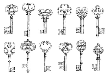 Illustration pour Ornamental vintage skeleton keys sketches, decorated by forged floral motifs and scrollwork. Medieval keys in engraving style for embellishment or decoration design - image libre de droit