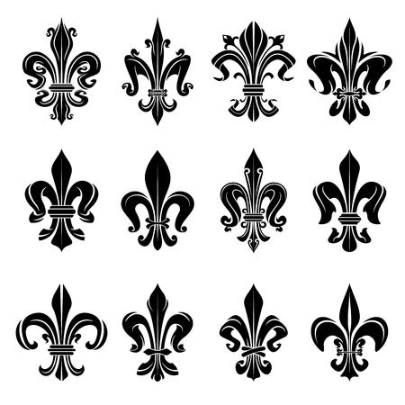 Ilustración de Royal french heraldry design elements for coat of arms, emblem or medieval design with black fleur-de-lis symbols adorned by decorative floral ornaments - Imagen libre de derechos