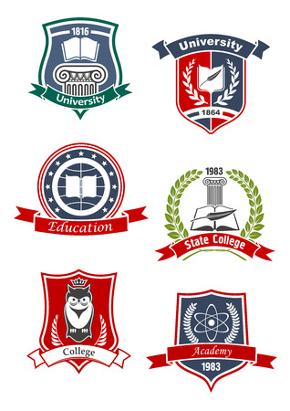 University, academy, college and education icons with books and feather, crowned owl, atom model and greek column, framed by medieval shields, laurel wreaths and ribbon banners
