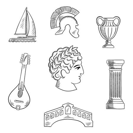 Italian culture, history and travel sketched icons with Caesar in wreath, roman helmet and venice bridge, ancient vase and mandolin, doric column and sailboat. Sketch style