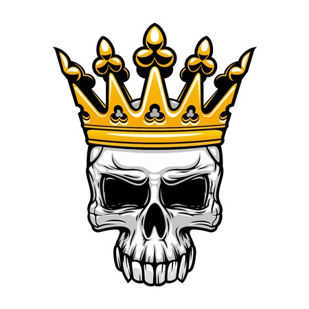 Illustration pour Crowned king skull symbol of spooky human cranium with royal gold crown. For tattoo, t-shirt print or Halloween design usage - image libre de droit