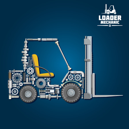 Illustration pour Loader mechanics symbol with forklift truck, composed of fork arms, wheels, seat, gears, ball bearings, hydraulic system parts, lifting chain, pressure hoses, crankshaft, axles, mast and carriage. Transportation design usage - image libre de droit
