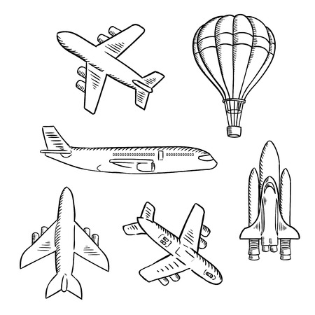 Photo pour Air transport sketches with jet airplane, cargo planes, vintage hot air balloon and modern space shuttle. Isolated aircraft icons for transportation, travel or shipping theme design usage - image libre de droit