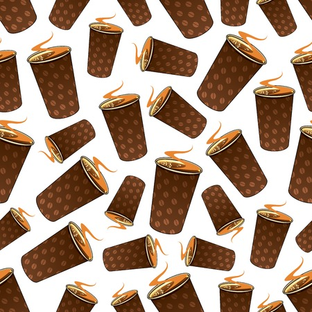 Seamless fast food coffee background with cartoon pattern of dark brown takeaway paper cups, decorated by coffee beans. May be used as fast food drinks, coffee shop menu or kitchen interior design