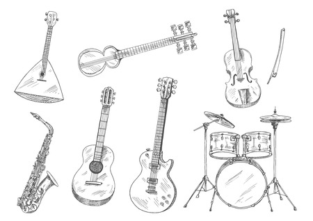 Sketchy drum set, acoustic and electric guitars, violin, saxophone, russian balalaika and indian sarod icons. Ethnic and classical musical instruments for arts and music design