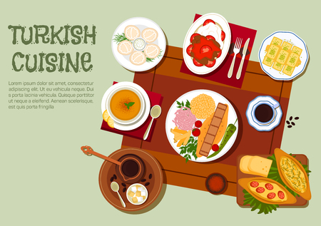 Illustration pour National dishes of turkish cuisine icon with traditional adana and iskender kebabs platters with vegetables, yogurt and bulgur pilaf, pide pies, lentil soup, dumplings with sour cream, turkish coffee with lokum, and walnut baklava. Flat style - image libre de droit