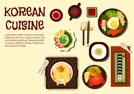 Vektor für Colorful summer dishes of korean cuisine icon with chicken ginseng soup, sushi rolls kimbap, rice bibimbap topped with vegetables and fried egg, cold noodles, spicy crab and jujube tea with shaved ice dessert topped with strawberry, kiwi and banana fruits - Lizenzfreies Bild