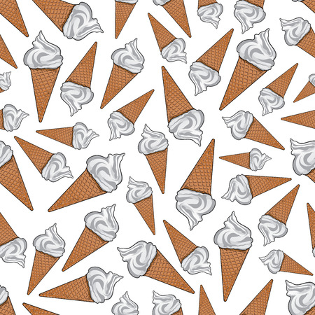 Takeaway vanilla ice cream background. For fast food dessert or cafe menu design usage with seamless pattern of delicious airy italian gelato in sugar waffle cones
