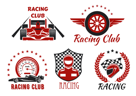 Illustration pour Racing club and motorsport competitions symbols with open wheel racing cars, racer, protective helmet and winged wheel, framed by speedometer, racing flag, checkered shield, laurel wreath and stars - image libre de droit