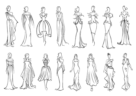 Illustration pour Fashion models sketched silhouettes with elegant young women in long sleeveless evening gowns and charming cocktail dresses. Fashion industry or shopping design usage - image libre de droit