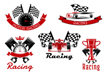 Illustration pour Auto racing sporting icons of sports cars and open wheel race car, trophy cup, speedometer and stopwatch, pistons and racing flags with red ribbon banners and crown - image libre de droit
