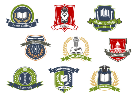 Ilustración de Education symbols for university and college school design with books and pens, graduation cap and owl, atom and DNA on heraldic shields framed by laurel wreaths, ribbon banners and stars - Imagen libre de derechos
