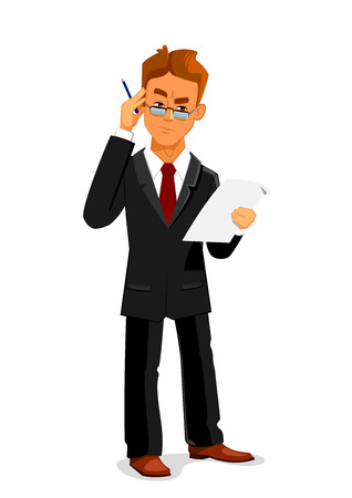 Cartoon pensive businessman in black business suit and glasses is attentively reading a contract or commercial agreement. Business documentation, paperwork, contract signing design usage