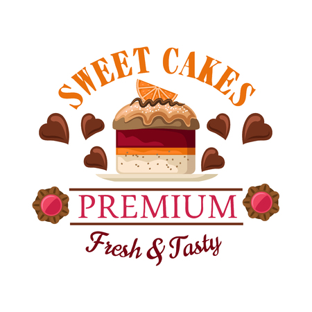 Vektor für Red velvet mini cake icon for bakery shop interior or cafe menu design with petit fours topped by caramel sauce and orange fruit slice, surrounded by heart shaped chocolate candies and jam filled cookies - Lizenzfreies Bild