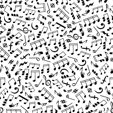 Illustration for Music and sound background with black and white seamless pattern of beamed and half notes, quavers, chords and rests, treble and bass clefs, key signatures and dynamics - Royalty Free Image