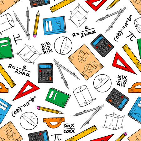 Photo for Mathematics seamless pattern of books and pencils, rulers, calculators and compasses, geometric figures, drawings and algebra formulas. Education and back to school theme design - Royalty Free Image