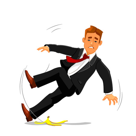 Illustration pour Young businessman slipping on banana peel and falling down. Accident, failure and bad luck buinsess metaphor with man vector character - image libre de droit