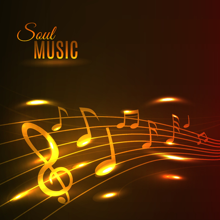 Soul Music poster. Shining golden music notes on stave. Background for banner, flyer, card, radio, festival, concert, opera, advertising web design