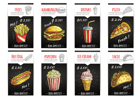 Illustration pour Fast food menu poster with description and price label. Isolated sketch icons elements of fries, hamburger, drinks, pizza, hot dog, popcorn, ice cream, tacos - image libre de droit