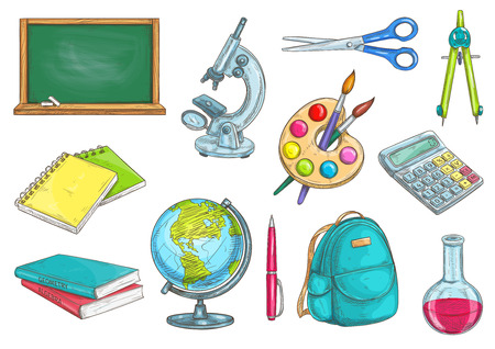 Photo pour Back to school school supplies icons. Vector sketch elements of chalk blackboard, microscope, copybook, textbook, watercolor paint brushes, globe, pen, rucksack, chemical flask, scissors compass calculator - image libre de droit