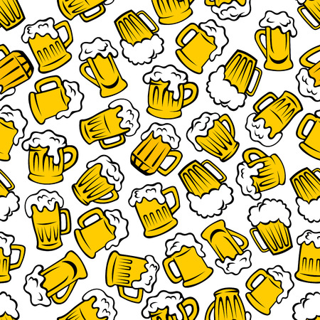 Illustration for Beer beverages retro cartoon pattern with seamless background of mugs and tankards full of light beer, lager and ale drinks. Use as pub or brewery promotion design - Royalty Free Image