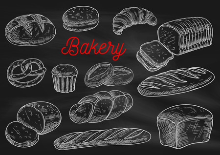 Illustration pour Bakery products chalk sketches on blackboard. Bread, cake, croissant, baguette, hamburger bun, toast, pie, braided bun, pretzel Bakery shop menu chalkboard design - image libre de droit