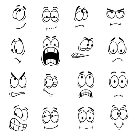 Illustration pour Human cartoon eyes with face expressions and emotions. Cute smiles icons for emoticons. Vector emoji elements smiling, happy, surprised, sad, angry, mad, stupid, crying, shocked, comic, upset silly scared - image libre de droit