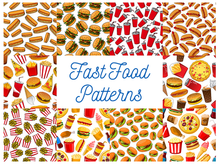 Fast Food Seamless Pattern Backgrounds Wallpaper With