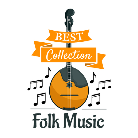 Folk music symbol with string musical instrument domra or mandolin, supplemented by notes and ribbon banner with text Best Collection
