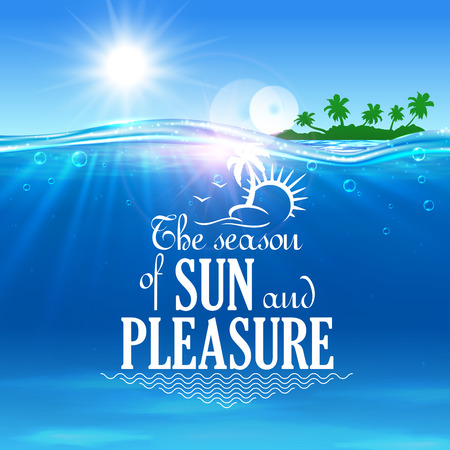 Illustration pour Tropical beach summer vacation symbol with blue sea and island with green palms on the background. Summer travel, holiday on sunny beach design - image libre de droit