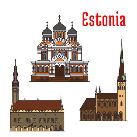 Estonia famous historic architecture. Vector detailed icons of Alexander Nevsky Cathedral, Tallinn Town Hall, Saint Olaf church. Landmarks for souvenir decoration elements