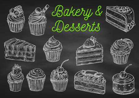 Vektor für Bakery and desserts chalk sketch icons on blackboard. Isolated vector cupcake with strawberry, chocolate cake with blueberry, creamy muffin, tart with fruits, biscuit with cherry - Lizenzfreies Bild