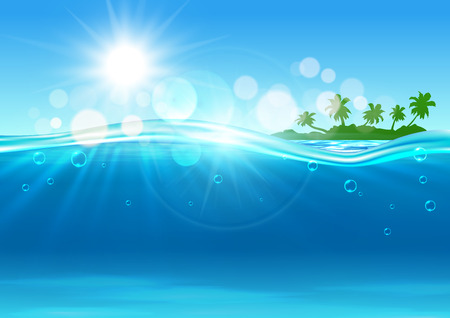 Illustration for Tropical island background with marine landscape of over and under water surface with green silhouette of island with palms at the horizon and blue waves with sun and flare spots. - Royalty Free Image