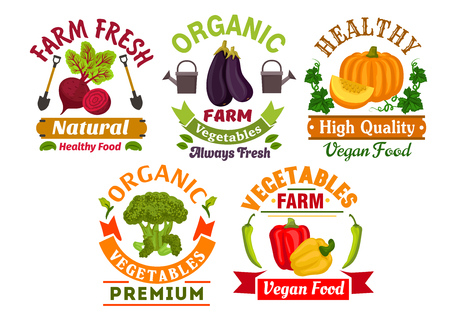 Illustration pour Healthy organic vegetables badges set of fresh farm bell pepper, broccoli, eggplant, pumpkin and beet vegetables with leaves, ribbon banners, shovels, watering can - image libre de droit