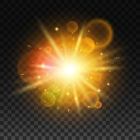Ilustración de Luminous gold bright light flash with light lens flare effect. - Imagen libre de derechos