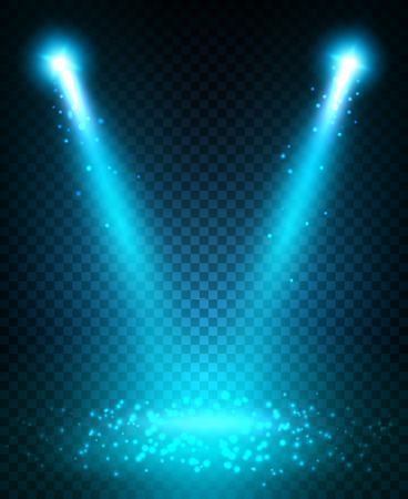 Spot light beams projection on stage scene. Blue light sparkles shining and reflecting on floor. Disco neon lamp flashes. Light effect on transparent background