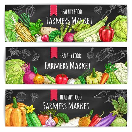 Foto de Veggies of farmer market. Vegetarian healthy food banners set. Chalk sketch vegetable pumpkin and cabbage, onion and broccoli, pepper and cucumber, tomato and celery, radish, carrot and beet, potato on blackboard - Imagen libre de derechos