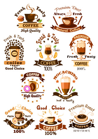 Coffee emblems and signs set. Mug of hot arabica espresso, cappuccino or moka latte, iced coffee drink cup, milk shake cocktail, biscuit and chocolate muffin dessert. Vector isolated icons, ribbons, coffee beans and stars for cafe, cafeteria design