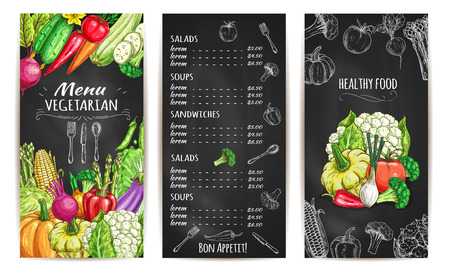 Vegetables chalk sketch for vegetarian menu brochure or card. Vector healthy vegan vegetable food price on chalkboard. Veggies beet, carrot and garlic, pea, pumpkin and zucchini, chili pepper, cabbage and cucumber, tomato, corn and pumpkin
