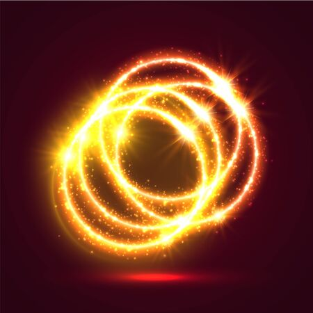 Abstract glowing light rings background  Fire motion effect