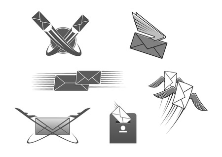 Illustration pour Mail or letter icons set. Vector emblem for post office or express postal delivery. Isolated symbol of envelope with wings and arrows, post box, world globe and flying plane or aircraft cargo. Internet web mail interface signs - image libre de droit