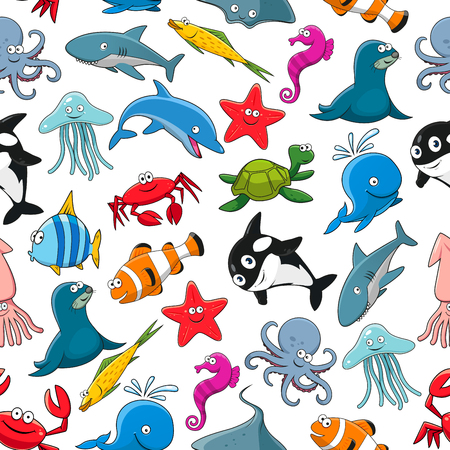 Seamless pattern of vector cartoon sea fish and ocean animals lobster crab, octopus, stingray and penguin, turtle, clown fish or flounder and tropical butterfly fish, starfish and seahorse, squid and jellyfish, seal, dolphin and shark whale