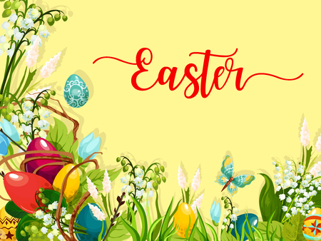 Ilustración de Easter egg on green grass cartoon greeting card. Colored Easter eggs on grass with blooming spring flowers and lily of the valley inflorescence, willow twig and butterfly. Easter holiday themes design - Imagen libre de derechos