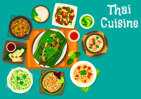 Ilustración de Thai cuisine icons - Imagen libre de derechos