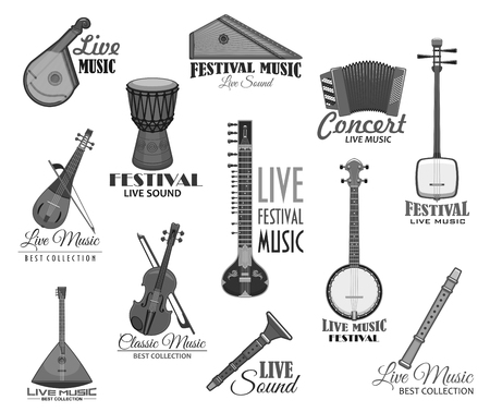 Musical instruments for music concert vector icons