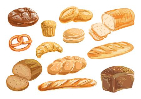 Vektor für Bread and bakery product watercolor drawing set - Lizenzfreies Bild