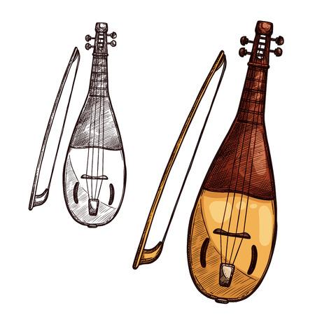 Vector sketch gusli harp string music instrument