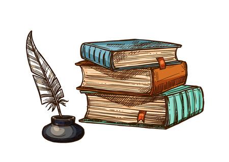 Illustration pour Vector old books and ink feather quill pen - image libre de droit