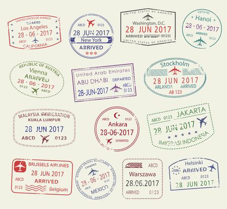 Illustration pour Vector icons of city passport stamps world travel - image libre de droit